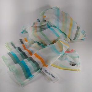 Calvin Klein Striped Scarf/Wrap w Silver Medallion